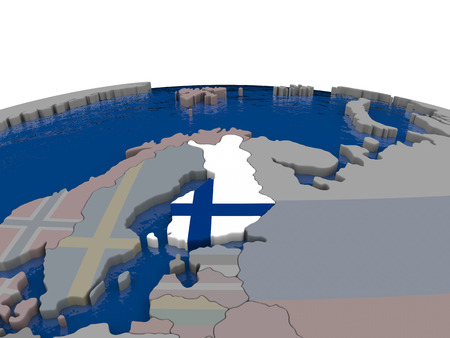 suomi: Flag of Finland on globe. Official flag colours, accurate country borders. 3D illustration