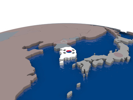 korean national: Flag of South Korea on globe. Official flag colours, accurate country borders. 3D illustration