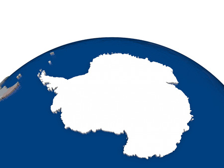 antarctica: Flag of Antarctica on globe. Official flag colours, accurate country borders. 3D illustration