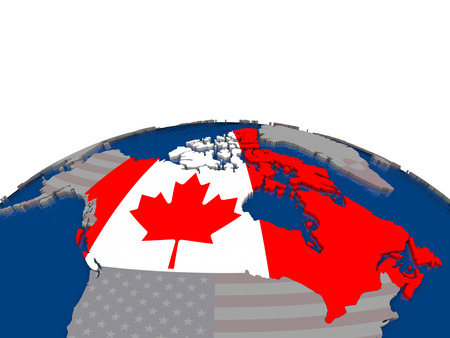 canadian flag: Flag of Canada on globe. Official flag colours, accurate country borders. 3D illustration Stock Photo