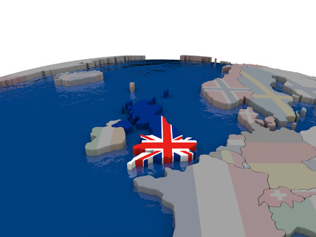 briton: Flag of United Kingdom on globe. Official flag colours, accurate country borders. 3D illustration Stock Photo
