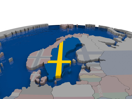 scandinavia: Flag of Sweden on globe. Official flag colours, accurate country borders. 3D illustration