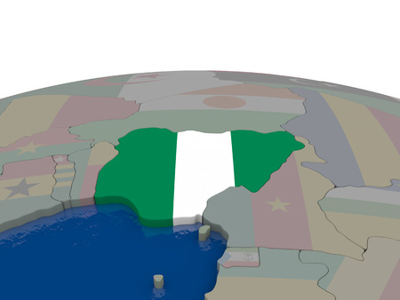 country nigeria: Flag of Nigeria on globe. Official flag colours, accurate country borders. 3D illustration