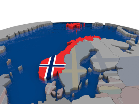 norway flag: Flag of Norway on globe. Official flag colours, accurate country borders. 3D illustration