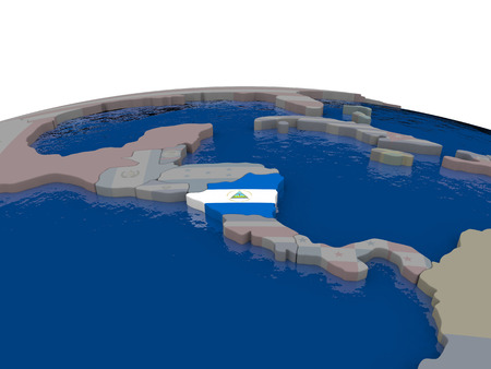 nicaragua: Flag of Nicaragua on globe. Official flag colours, accurate country borders. 3D illustration