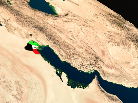 Kuwait with embedded national flag as if seen from Earths orbit in space. 3D illustration with highly detailed realistic planet surface.