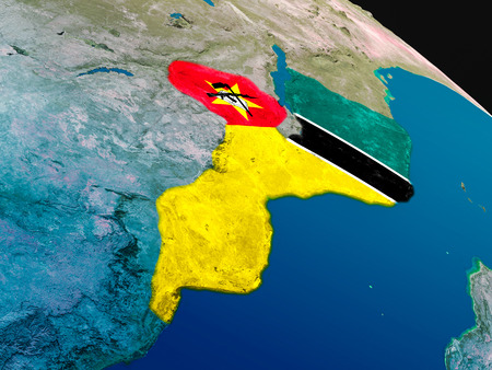 Mozambique with embedded national flag as if seen from Earths orbit in space. 3D illustration with highly detailed realistic planet surface. Stock Photo