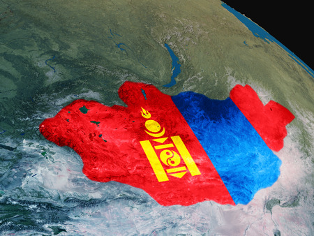 Mongolia with embedded national flag as if seen from Earths orbit in space. 3D illustration with highly detailed realistic planet surface.
