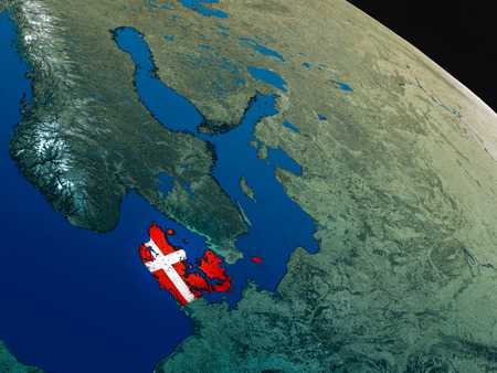 Denmark with embedded national flag as if seen from Earths orbit in space. 3D illustration with highly detailed realistic planet surface.