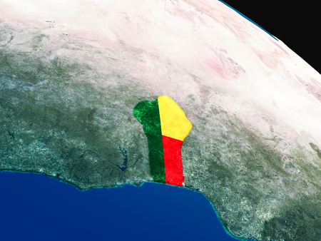 Benin with embedded national flag as if seen from Earths orbit in space. 3D illustration with highly detailed realistic planet surface.