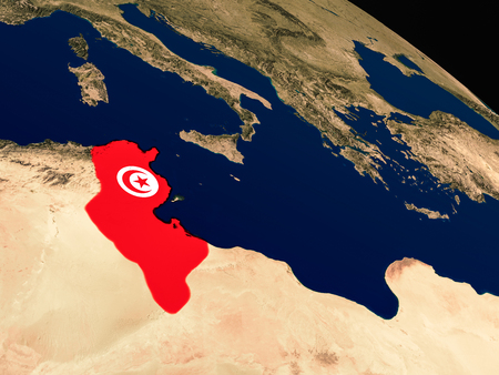 Tunisia with embedded national flag as if seen from Earths orbit in space. 3D illustration with highly detailed realistic planet surface.