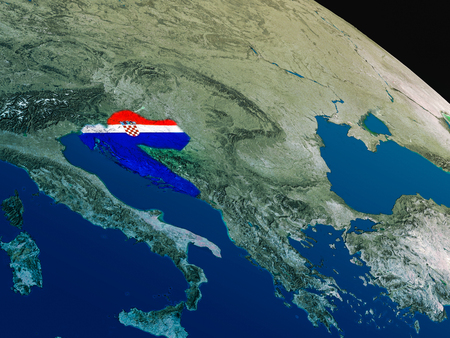 physical geography: Croatia with embedded national flag as if seen from Earths orbit in space. 3D illustration with highly detailed realistic planet surface. Stock Photo