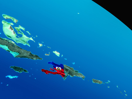 embedded: Haiti with embedded national flag as if seen from Earths orbit in space. 3D illustration with highly detailed realistic planet surface. Stock Photo
