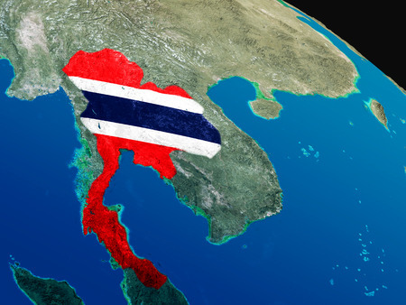 siamese: Thailand with embedded national flag as if seen from Earths orbit in space. 3D illustration with highly detailed realistic planet surface.