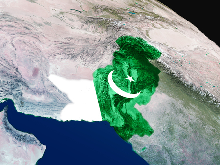 Pakistan with embedded national flag as if seen from Earths orbit in space. 3D illustration with highly detailed realistic planet surface. Stock Photo