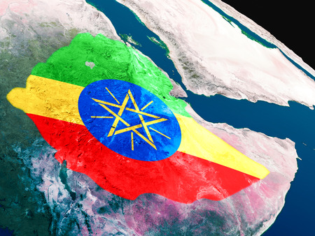 national flag ethiopia: Ethiopia with embedded national flag as if seen from Earths orbit in space. 3D illustration with highly detailed realistic planet surface.