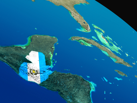 Guatemala with embedded national flag as if seen from Earths orbit in space. 3D illustration with highly detailed realistic planet surface.