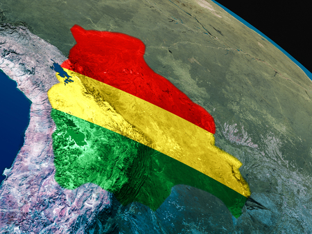 Bolivia with embedded national flag as if seen from Earths orbit in space. 3D illustration with highly detailed realistic planet surface.