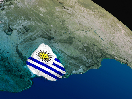 Uruguay with embedded national flag as if seen from Earths orbit in space. 3D illustration with highly detailed realistic planet surface.