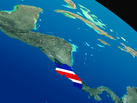 Costa Rica with embedded national flag as if seen from Earths orbit in space. 3D illustration with highly detailed realistic planet surface.