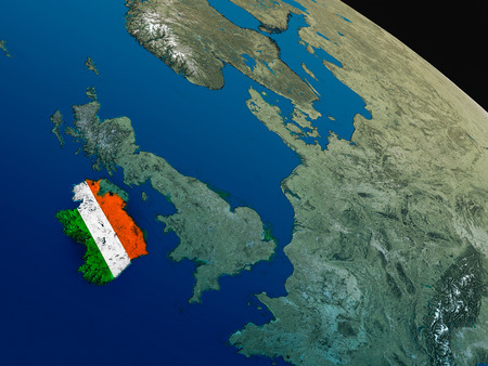 eire: Ireland with embedded national flag as if seen from Earths orbit in space. 3D illustration with highly detailed realistic planet surface.