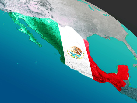 Mexico with embedded national flag as if seen from Earths orbit in space. 3D illustration with highly detailed realistic planet surface.