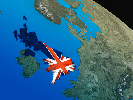 briton: United Kingdom with embedded national flag as if seen from Earths orbit in space. 3D illustration with highly detailed realistic planet surface. Stock Photo