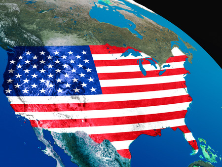 embedded: USA with embedded national flag as if seen from Earths orbit in space. 3D illustration with highly detailed realistic planet surface.