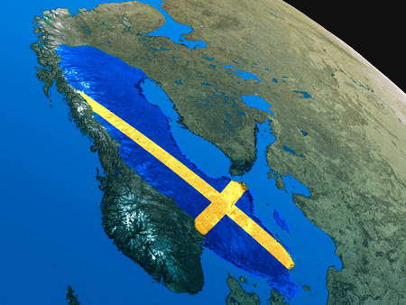 sverige: Sweden with embedded national flag as if seen from Earths orbit in space. 3D illustration with highly detailed realistic planet surface.