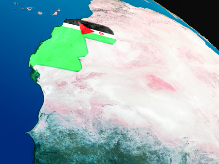 Western Sahara with embedded national flag as if seen from Earths orbit in space. 3D illustration with highly detailed realistic planet surface. Stock Photo