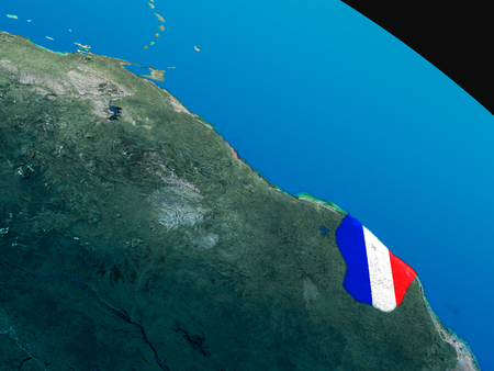 guiana: French Guiana with embedded national flag as if seen from Earths orbit in space. 3D illustration with highly detailed realistic planet surface. Stock Photo