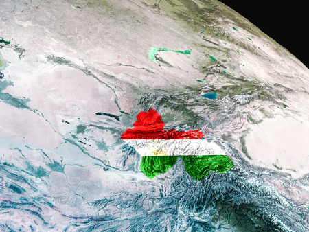 embedded: Tajikistan with embedded national flag as if seen from Earths orbit in space. 3D illustration with highly detailed realistic planet surface.