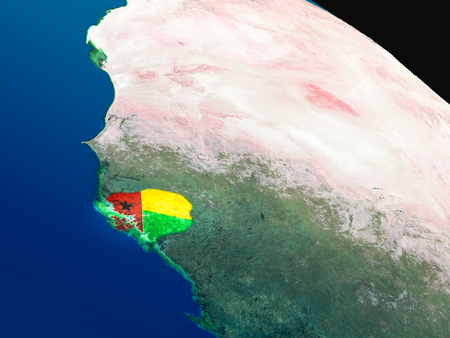 Guinea-Bissau with embedded national flag as if seen from Earths orbit in space. 3D illustration with highly detailed realistic planet surface. Stock Photo