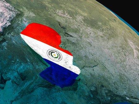 Paraguay with embedded national flag as if seen from Earths orbit in space. 3D illustration with highly detailed realistic planet surface.
