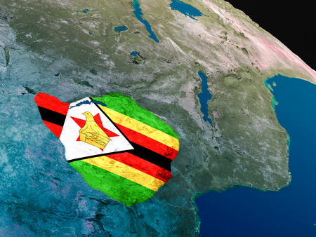 Zimbabwe with embedded national flag as if seen from Earths orbit in space. 3D illustration with highly detailed realistic planet surface. Stock Photo