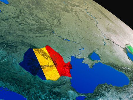 Romania with embedded national flag as if seen from Earths orbit in space. 3D illustration with highly detailed realistic planet surface.