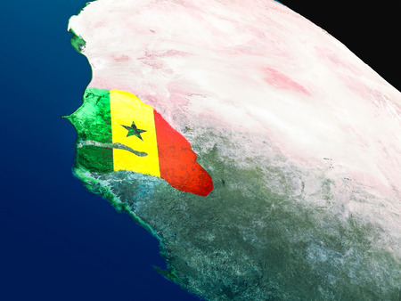 Senegal with embedded national flag as if seen from Earths orbit in space. 3D illustration with highly detailed realistic planet surface.