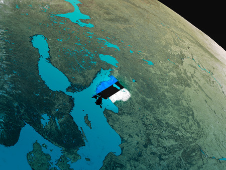 Estonia with embedded national flag as if seen from Earths orbit in space. 3D illustration with highly detailed realistic planet surface. Stock Photo