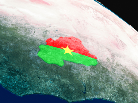 Burkina Faso with embedded national flag as if seen from Earths orbit in space. 3D illustration with highly detailed realistic planet surface.