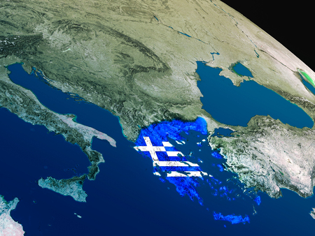 Greece with embedded national flag as if seen from Earths orbit in space. 3D illustration with highly detailed realistic planet surface. Stock Photo