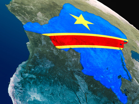 Democratic Republic of Congo with embedded national flag as if seen from Earths orbit in space. 3D illustration with highly detailed realistic planet surface.