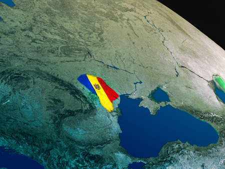 Moldova with embedded national flag as if seen from Earths orbit in space. 3D illustration with highly detailed realistic planet surface. Stock Photo