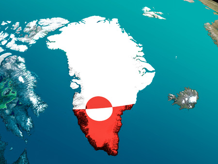 embedded: Greenland with embedded national flag as if seen from Earths orbit in space. 3D illustration with highly detailed realistic planet surface.