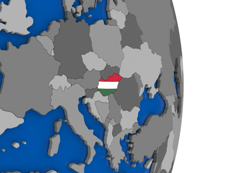 magyar: Flag of Hungary on simple globe with grey countries and blue ocean. 3D illustration