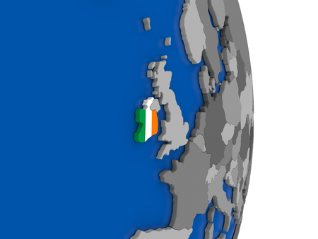 eire: Flag of Ireland on simple globe with grey countries and blue ocean. 3D illustration