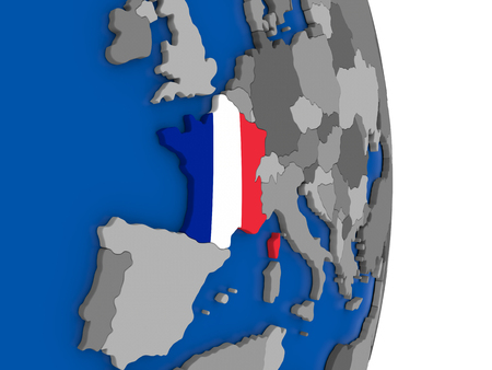 republique: Flag of France on simple globe with grey countries and blue ocean. 3D illustration