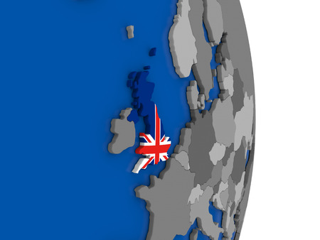 Flag of United Kingdom on simple globe with grey countries and blue ocean. 3D illustration