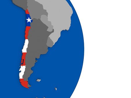 bandera chilena: Flag of Chile on simple globe with grey countries and blue ocean. 3D illustration