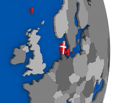 danish flag: Flag of Denmark on simple globe with grey countries and blue ocean. 3D illustration Stock Photo