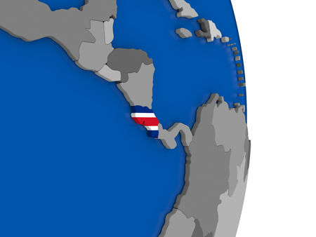 Flag of Costa Rica on simple globe with grey countries and blue ocean. 3D illustration